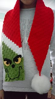 Character C2C Scarf pattern by Handmade by Jodie #grinchscarfcrochetpatternfree