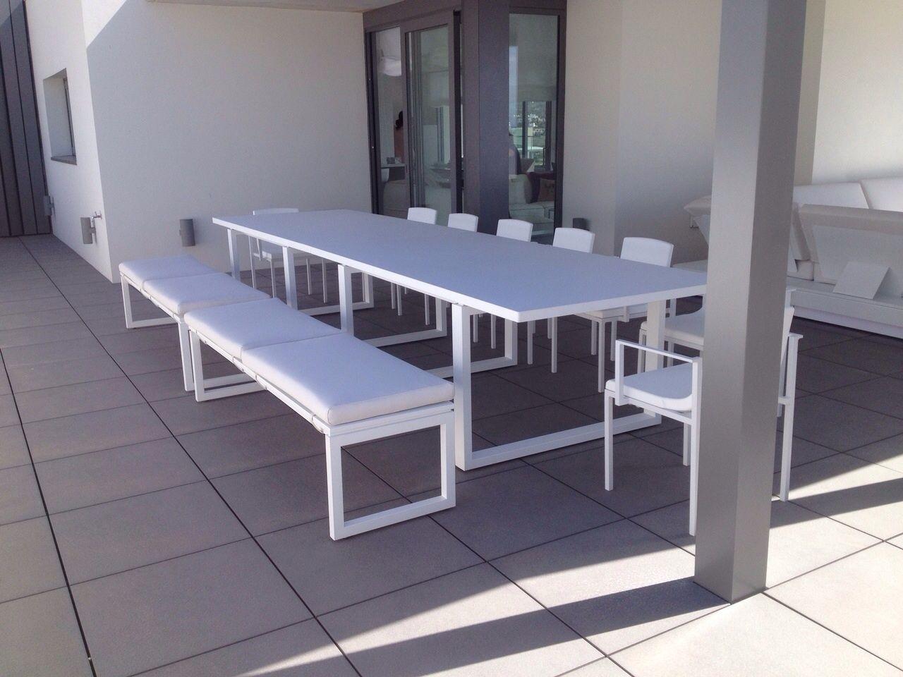 Mesa Y Banco Terraza Muebles De Terraza Met Licos Lacados Con  # Muebles Gabarro