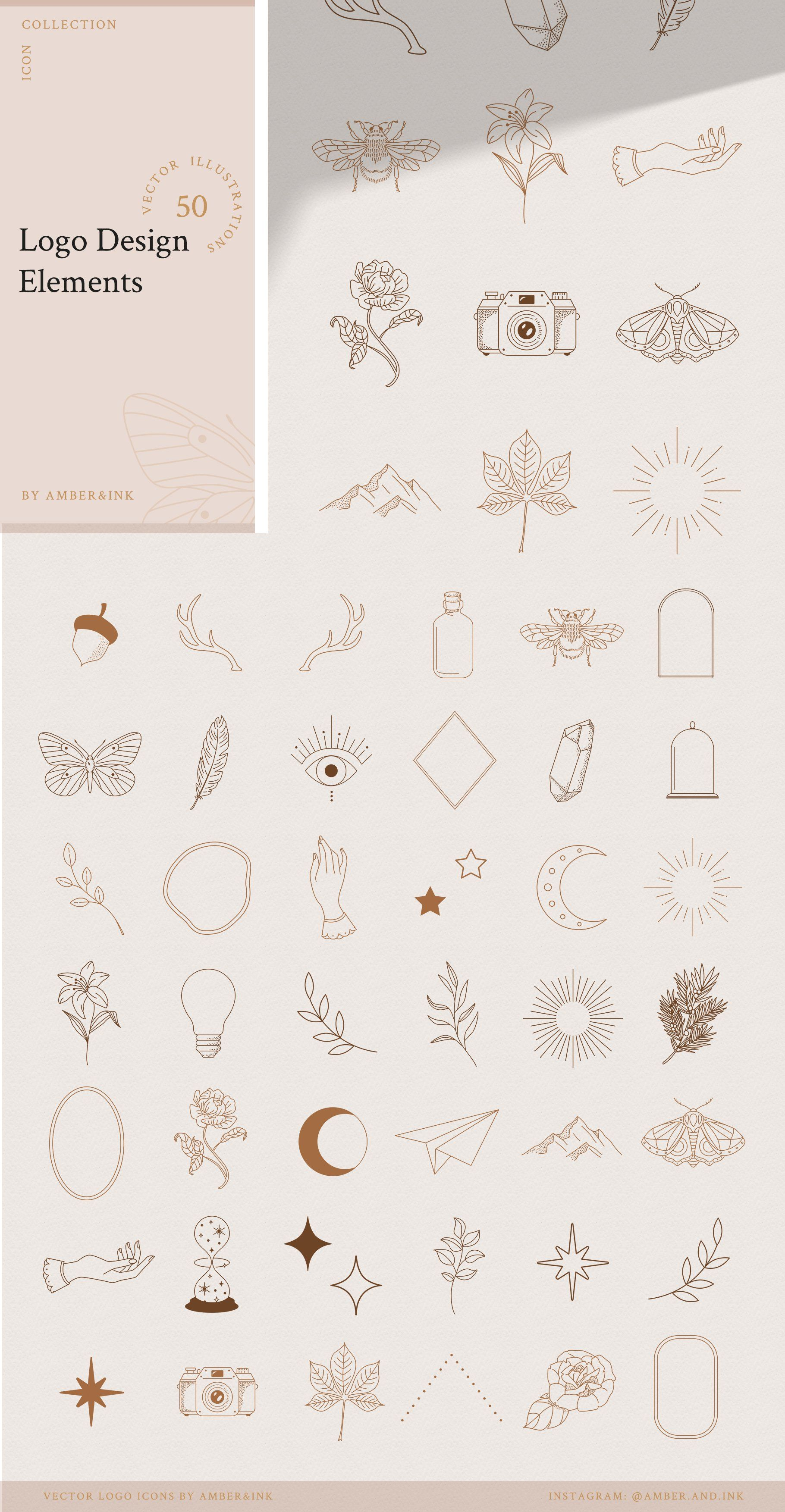 Logo Elements Collection | 50 pieces by amber&ink on Creative Market