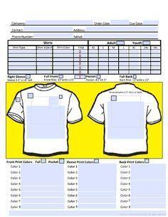 Shirt Order Form Image Screen Printing Screen Printed Tshirts Order Form Template