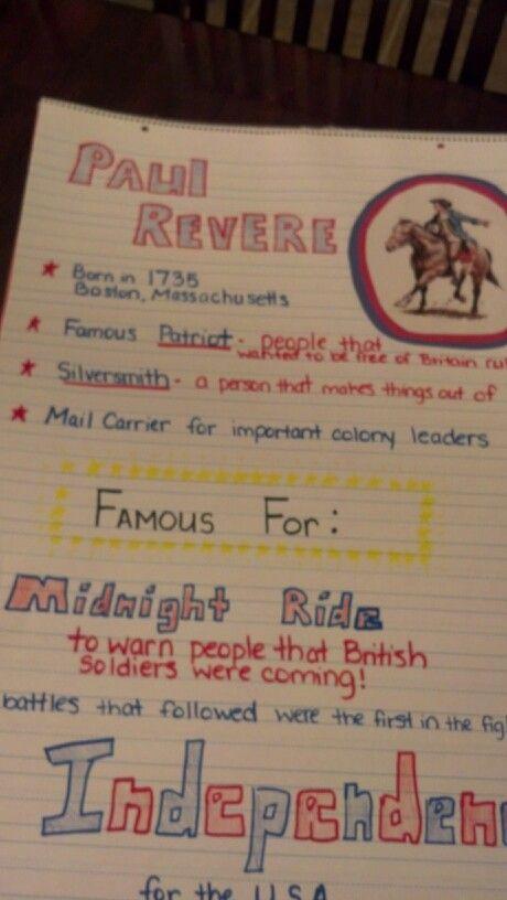paul revere anchor chart rd grade social studies my classroom  paul revere anchor chart 3rd grade social studies