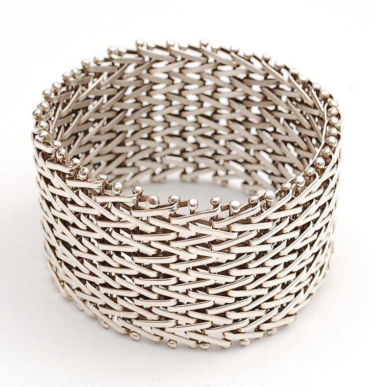 HANS APPENZELLER 1949 - Wide woven silver bracelet design 1982 ...