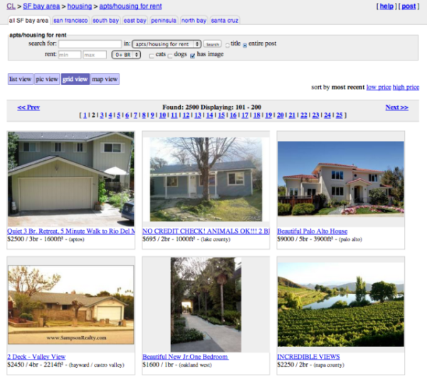 Craiglist Adds Photo Grid View Allows Easy Visual Browsing Craiglist Has Finally Updated Its Interface To Be More Cur Bay Area Housing Renting A House Views