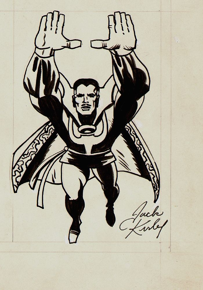 JACK KIRBY MARVELMANIA UNPUBLISHED DOCTOR STRANGE BACK COVER ILLUSTRATION 'SIGNED' (1968)
