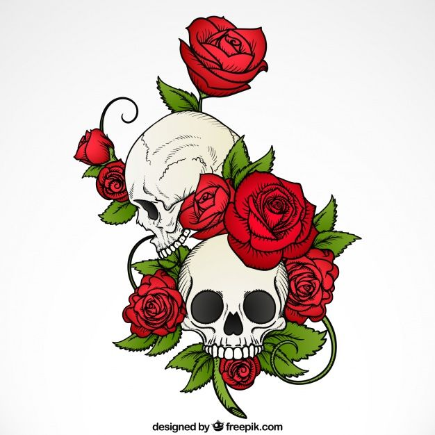 Descarga Gratis Fondo De Calaveras Con Rosas Y Hojas Dibujadas A Mano
