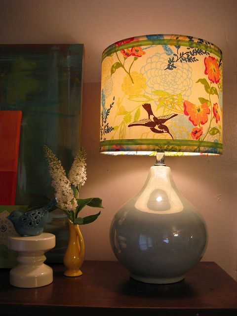 Craft project of the day! I spiffed up my lampshade with some fresh fabric.