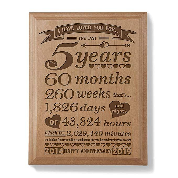 Gifts For Wedding Anniversaries For Each Year: 5th Anniversary Engraved Natural Wood Plaque