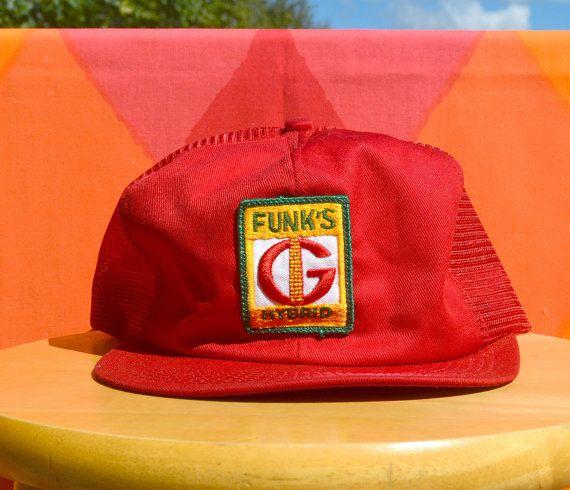 a6964f10cd7911 80s vintage trucker mesh hat FUNK'S g HYBRID patch farm corn red ...