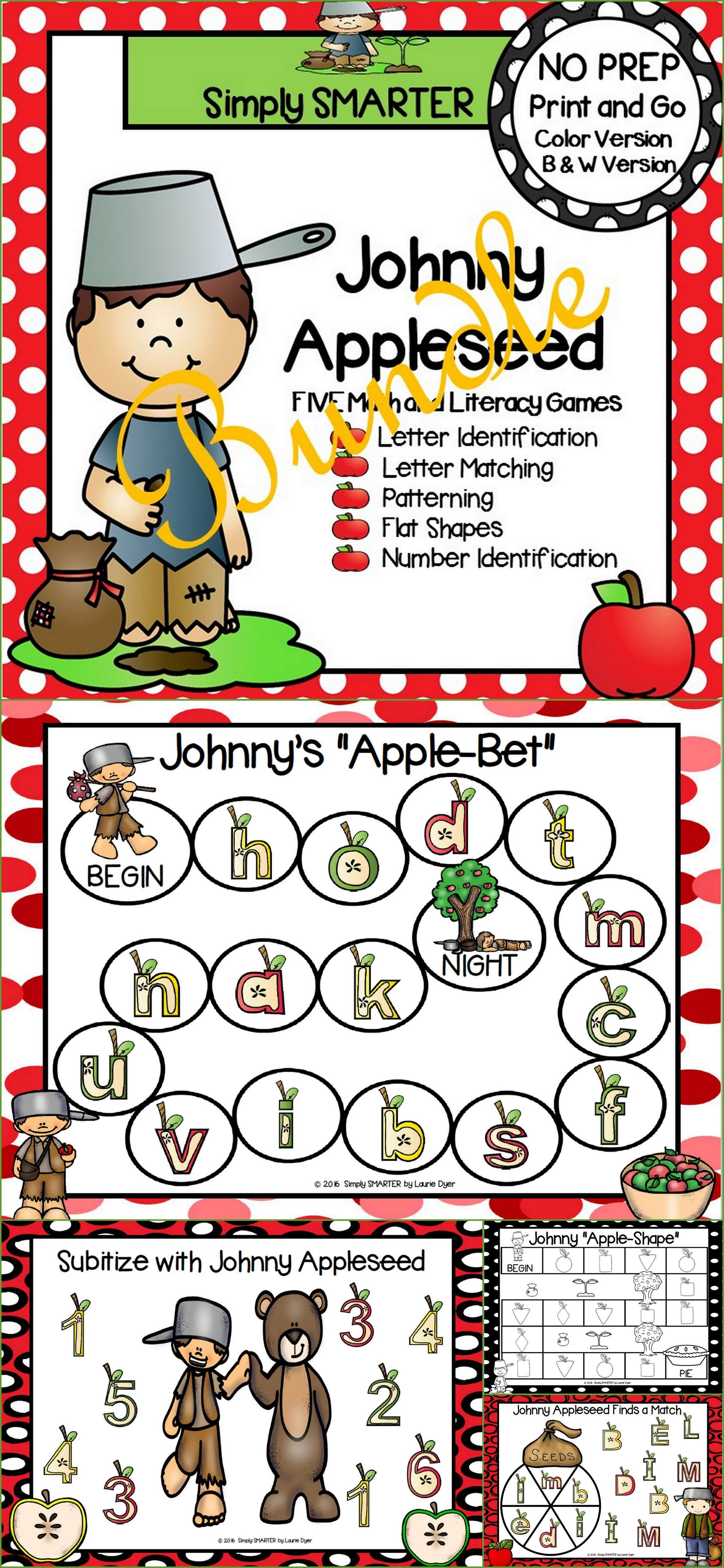 No Prep Johnny Appleseed Themed Math And Literacy Games