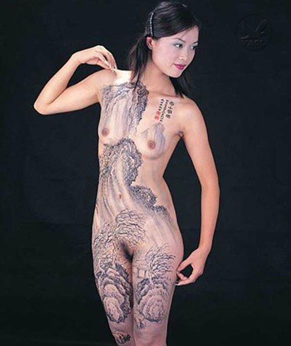 Naked asian body paint ex girlfriend photos