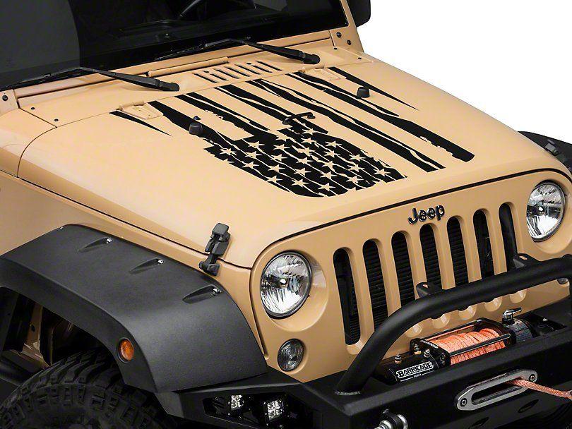 Distressed American Flag Hood Decal Jeep Wrangler Jeep Stickers Jeep Wrangler Jeep Bumpers