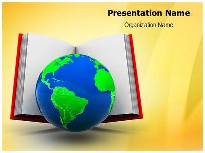Open Book And Globe Powerpoint Template Is One Of The Best