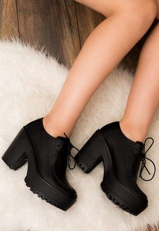 MAYA LACE UP BLOCK HEEL ANKLE BOOTS BLACK LEATHER STYLE in
