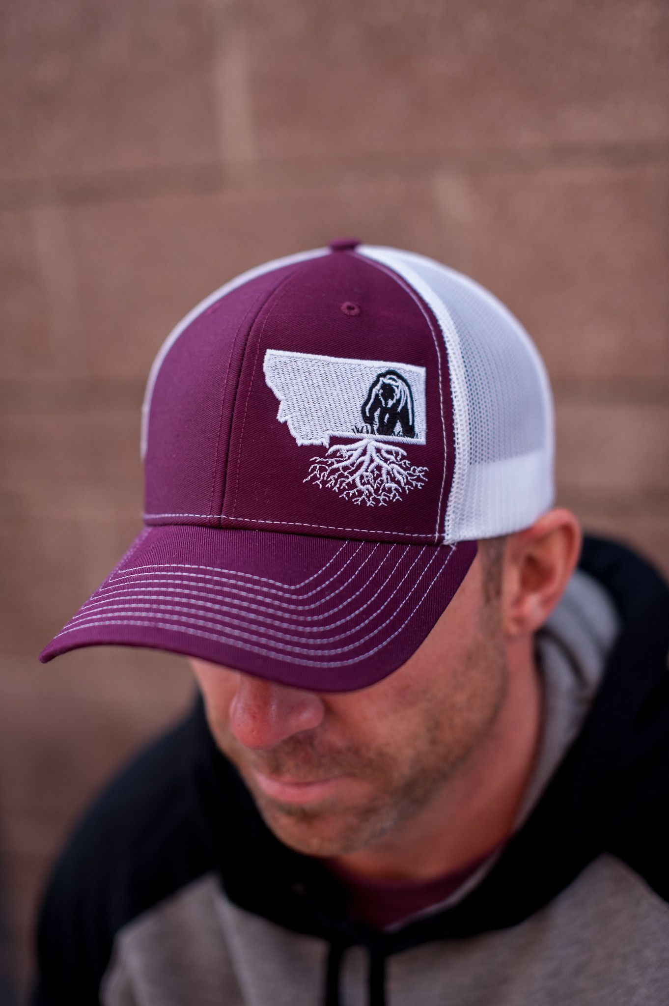 online store 85a5a 62dbb promo code for hooey mens hooey roughy cap 4002t brgy 3376a 99ba9  buy  signature montana roots grizzly hat in maroon white 9271f 11d4d