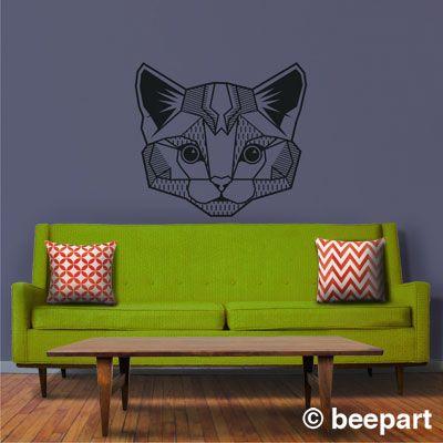 Geometric Cat Vinyl Wall Decal Beepart Vinyl Wall Decals - Custom vinyl wall decals cats