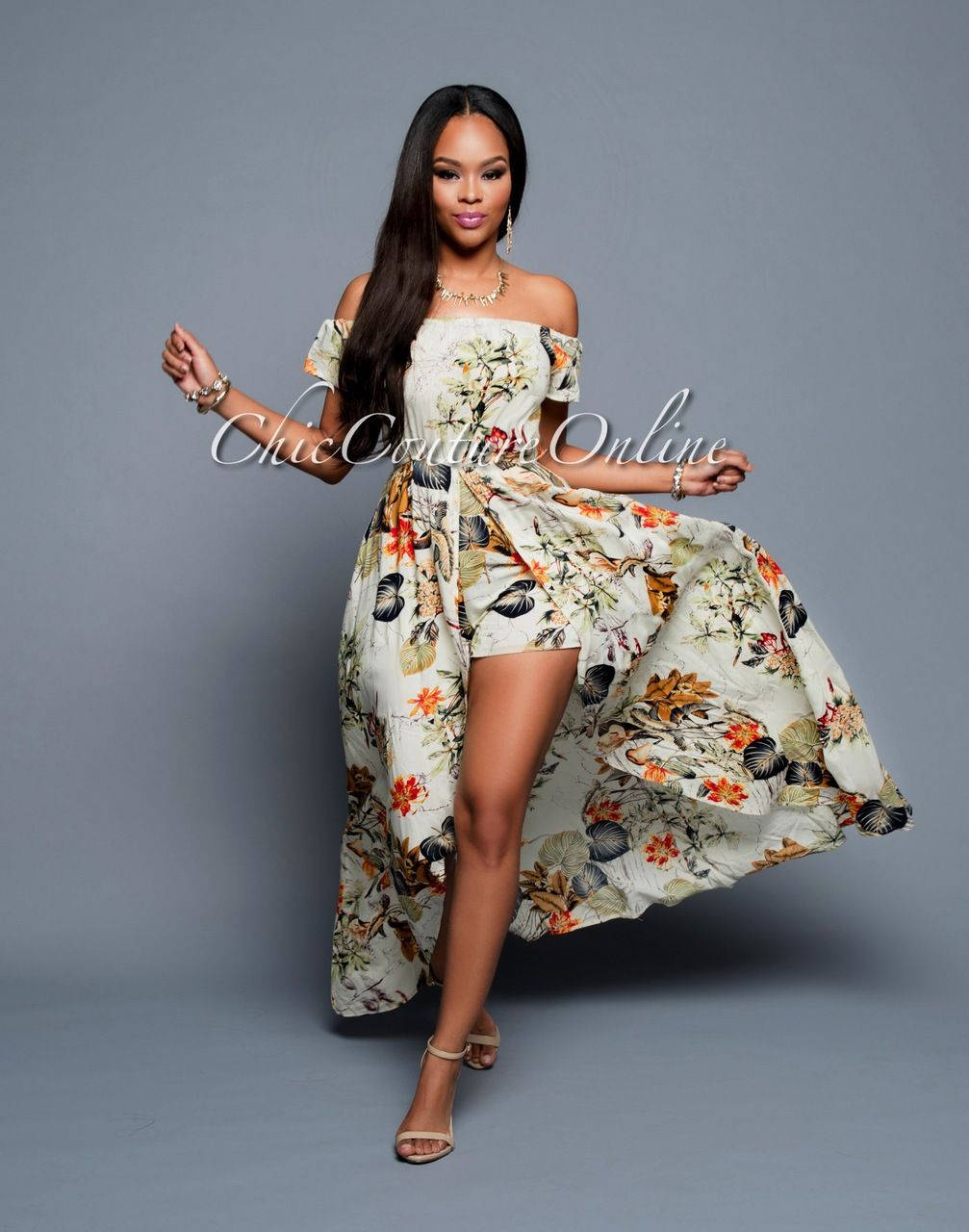 Chic Couture Online - Vergara Beige Multi-Color Floral Romper Maxi Dress, $65.00 (http://www.chiccoutureonline.com/vergara-beige-multi-color-floral-romper-maxi-dress/)
