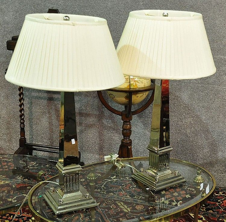 """Nice Modern Pair of Nickle-Finished Table Lamps in the shape of Obelisks - Dim: 30"""" H."""