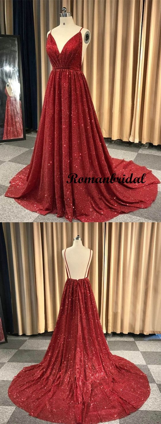 df49ea3609f V-Neck Spaghetti Straps Red Sequins Long Prom Dress With Pleats ...