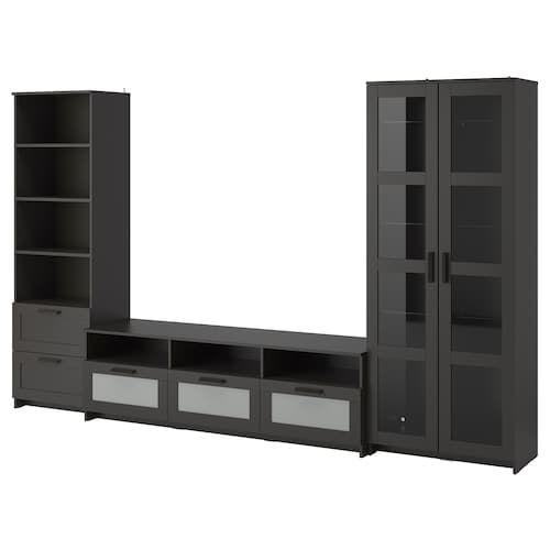 Brimnes Tv Storage Combination Glass Doors Black Meuble