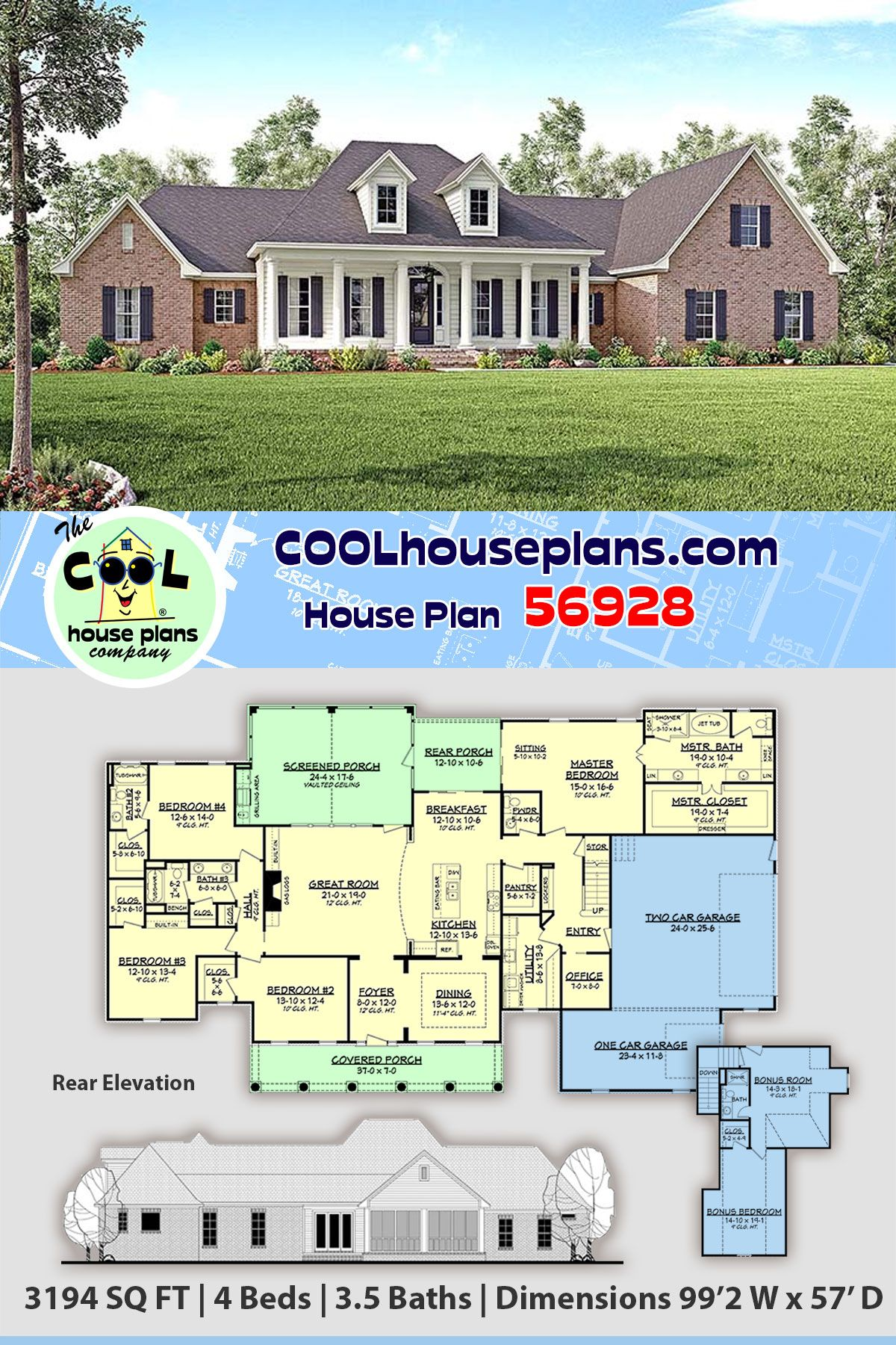 Traditional Style House Plan 56928 With 4 Bed 4 Bath 3 Car Garage In 2020 House Plans Best House Plans Colonial Style Homes