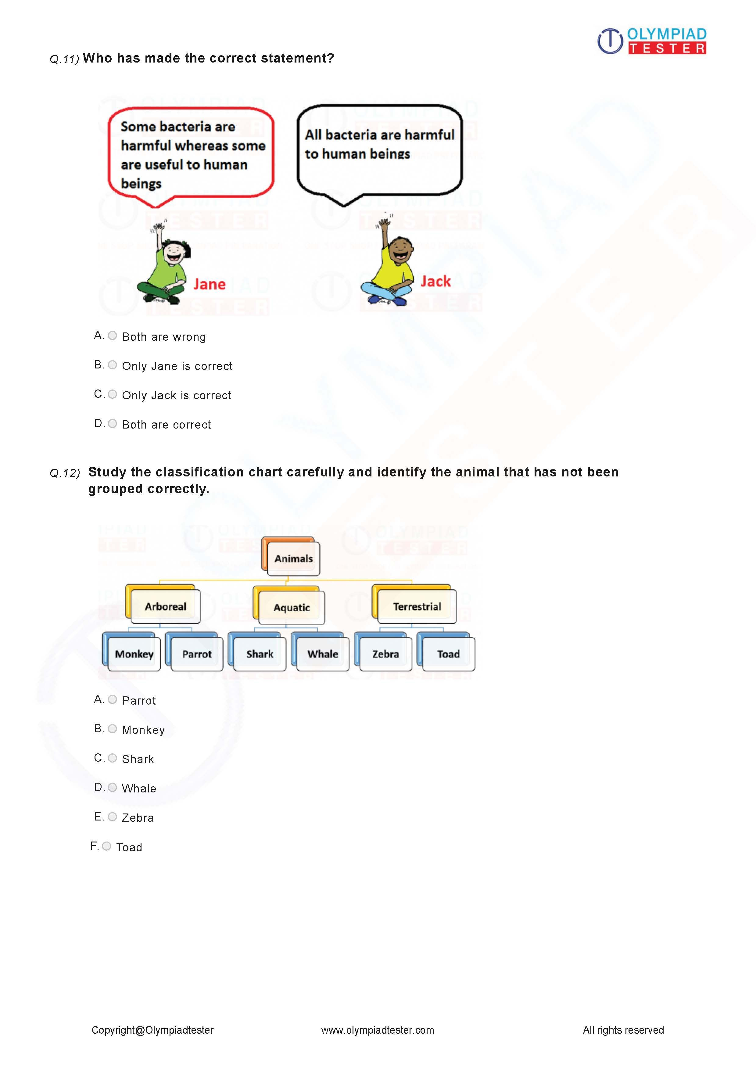 Class 3 Science Worksheet