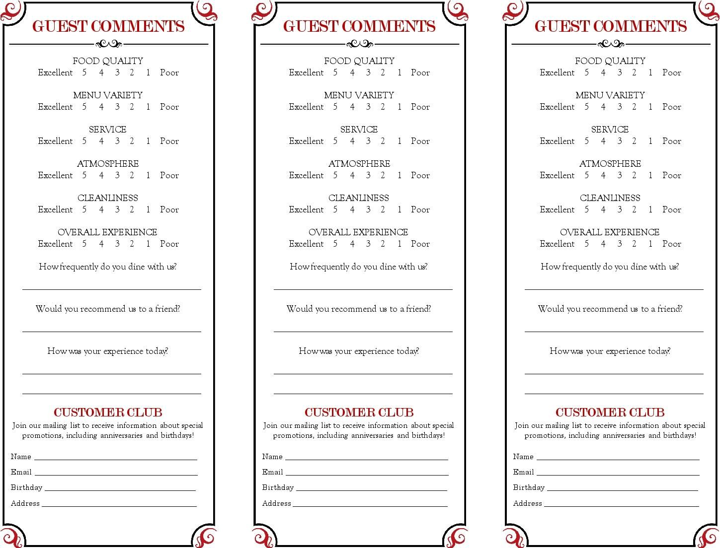 Restaurant Comment Card  Google Search  Comment Cards