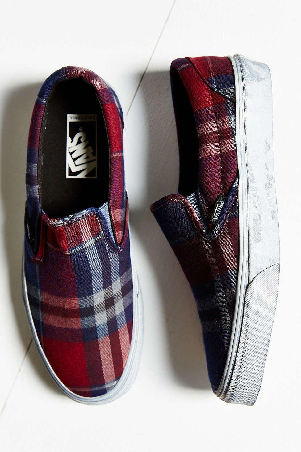 Vans Overwashed Plaid Slip-On Shoe