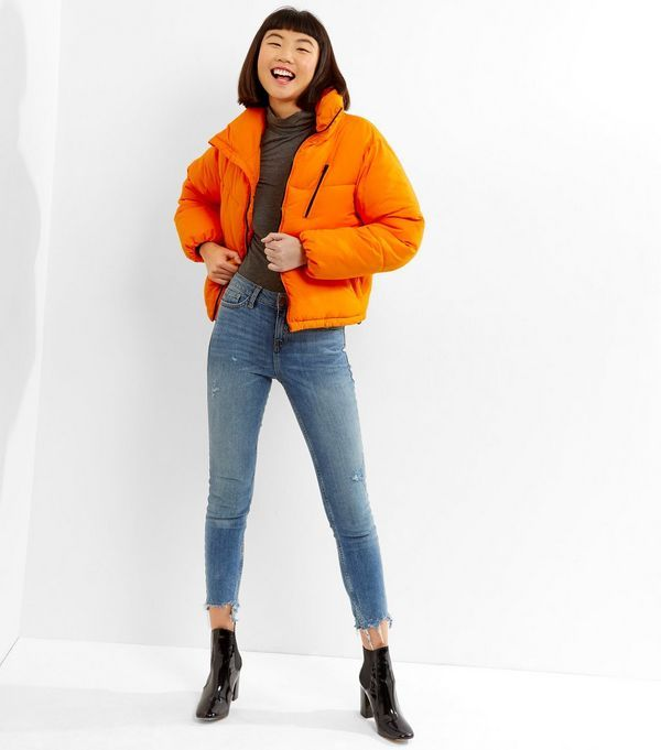 75b1c536f88 Orange Puffer Jacket in 2019   fits   Puffer jackets, Jackets ...