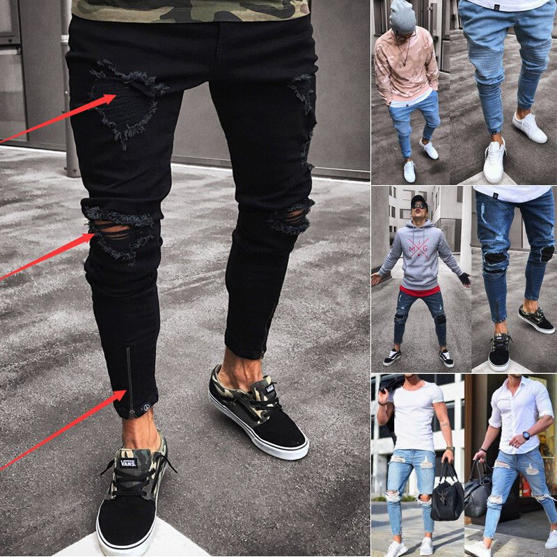Fashion Men/'s Ripped Skinny Jeans Destroyed Frayed Slim Fit Denim Pant Zipper