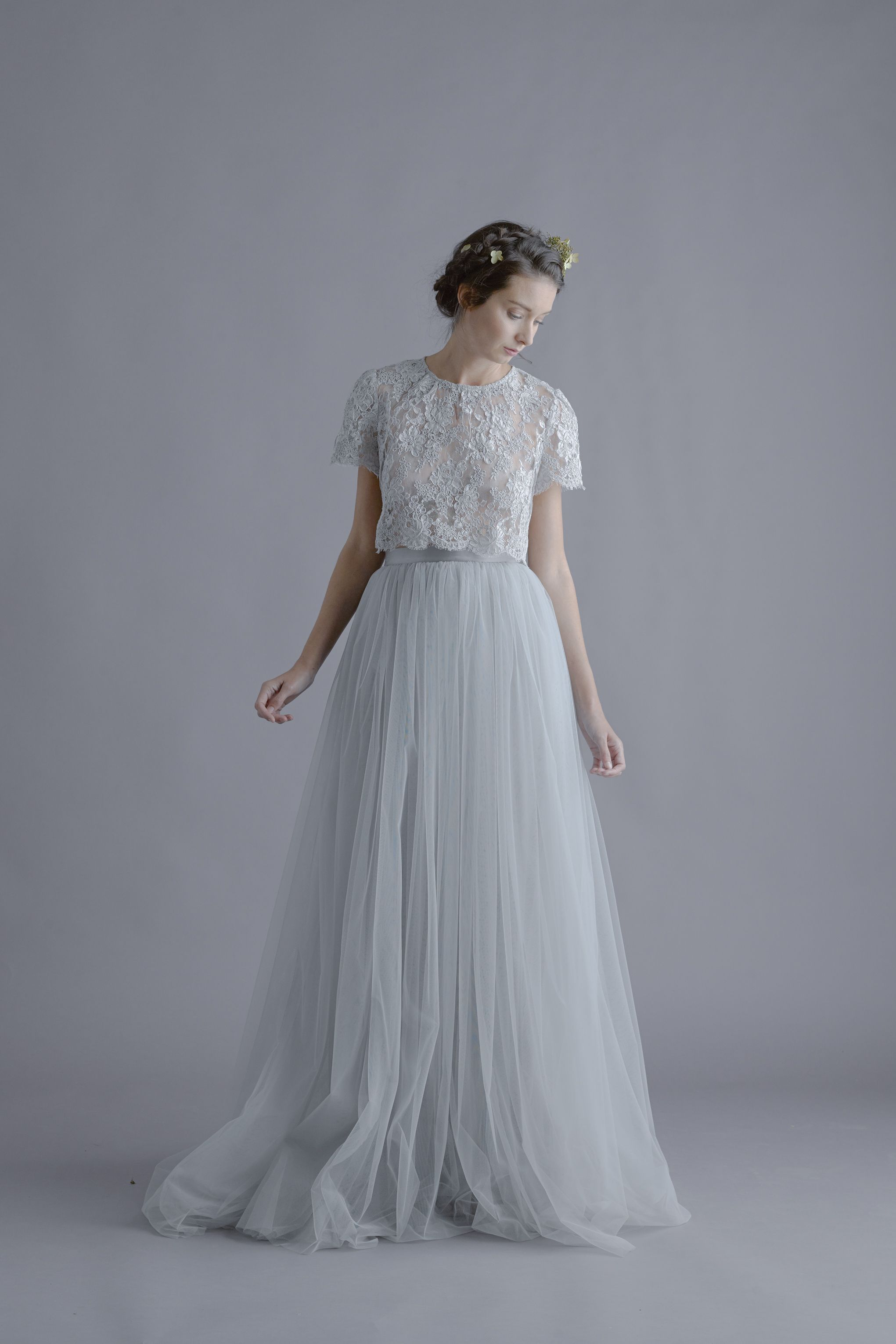 White and blue wedding dress  Alexandra Grecco Louise Lace Blouse and Lya Tulle Skirt  weddress