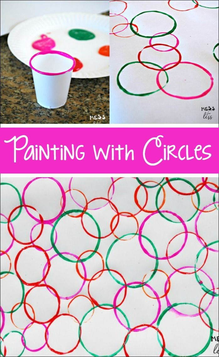 Painting With Circles Shapes Preschool Toddler Activities Preschool Crafts
