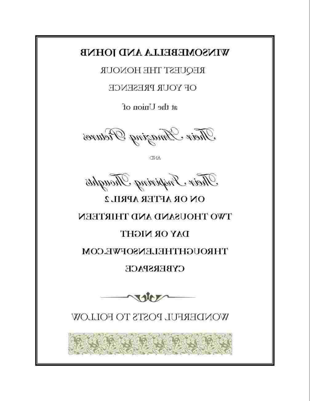Wedding Invitation No Gifts Creative Wedding Invitations