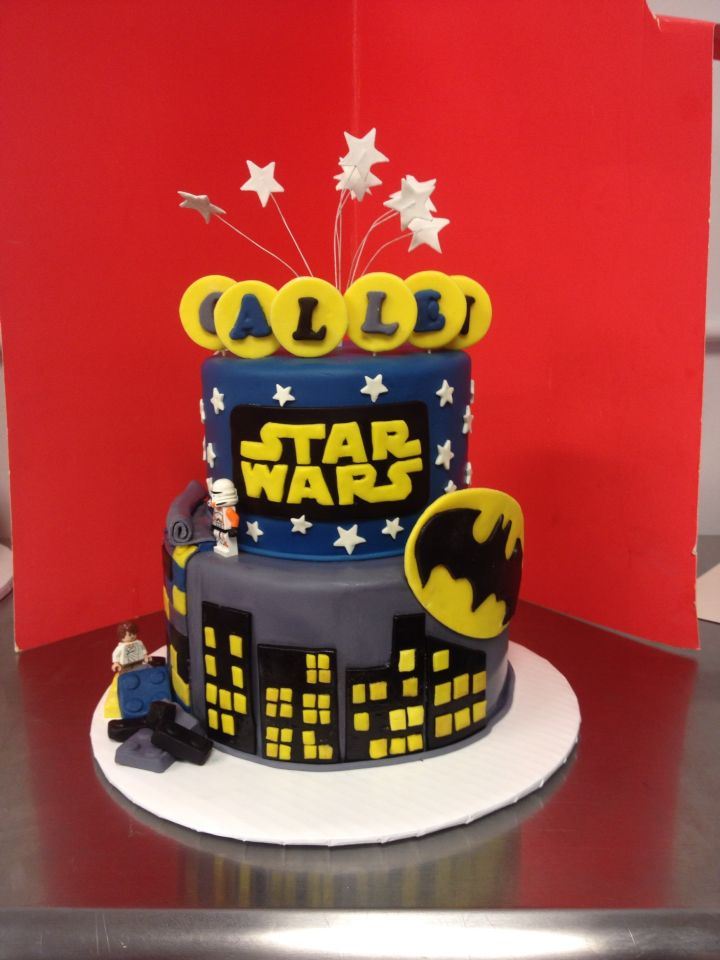 This star wars and batman legos cake is perfect for this little guy this star wars and batman legos cake is perfect for this little guy maxwellsz