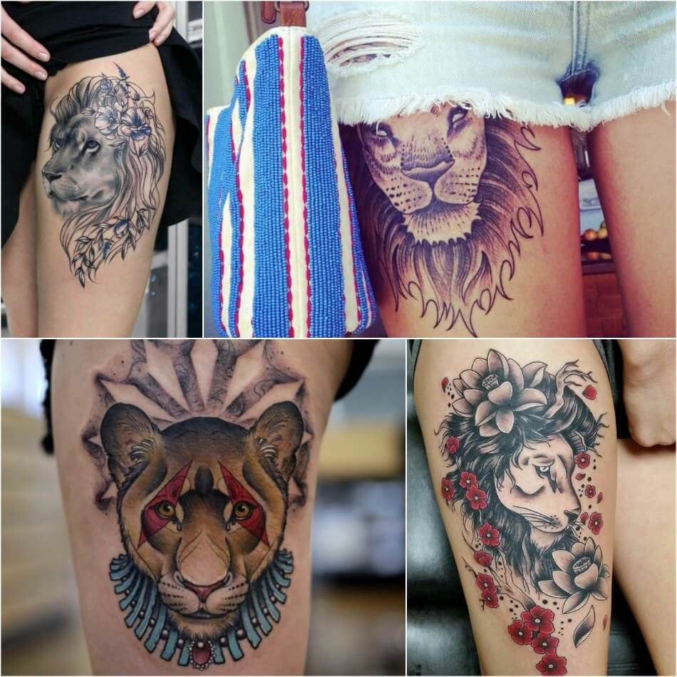 lion side tattoos for women - 950×950