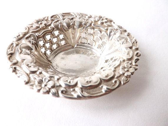 Jewellery Display Dish Vintage Sterling Silver Pin or Trinket Dish Small Pedestal Dish Ring Holder