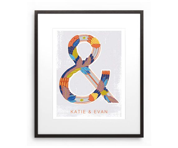 Personalized Ampersand Illustration Decorative Hand Drawn Scandinavian Home Wall Art, $20