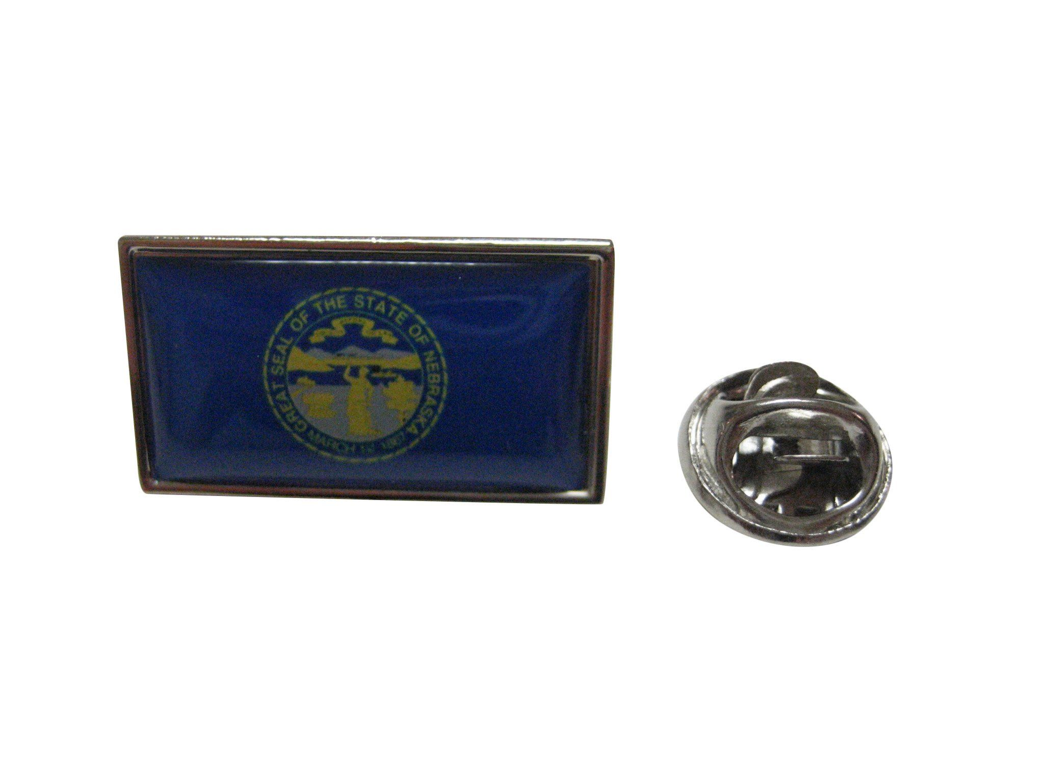 Silver Toned Etched Nebraska State Flag Square Tie Clip
