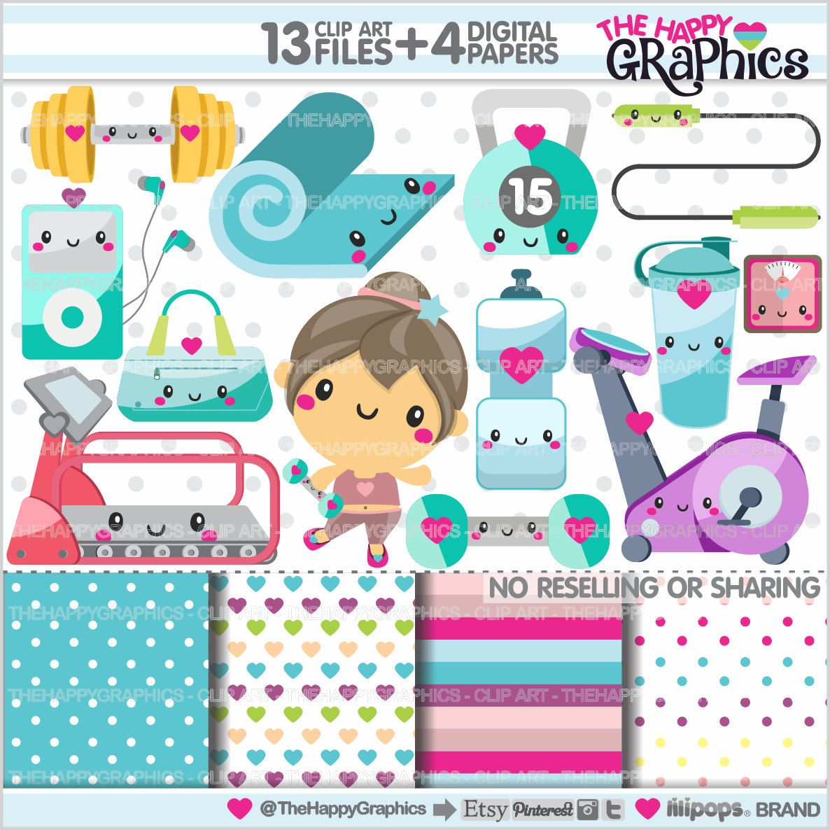 fitness clipart fitness graphics commercial use kawaii clipart gym clipart planner [ 1186 x 1186 Pixel ]