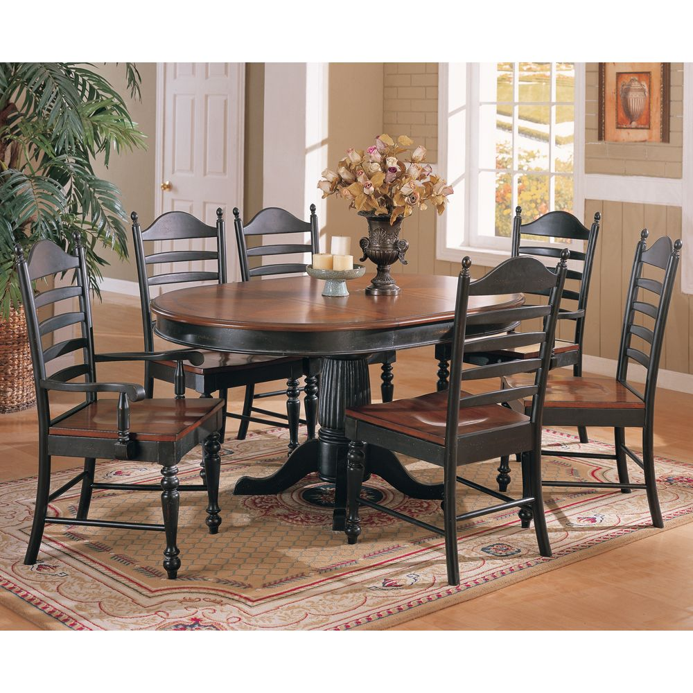 cottage pedestal dining table with leaf  6 chairs 1440
