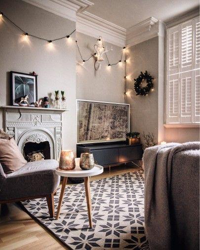 A Living Room With Christmas Details Http Liketk It 2ypgh Liketkit Liketoknow It Ltkholidayatho Purple Living Room Scandi Living Room Cosy Living Room