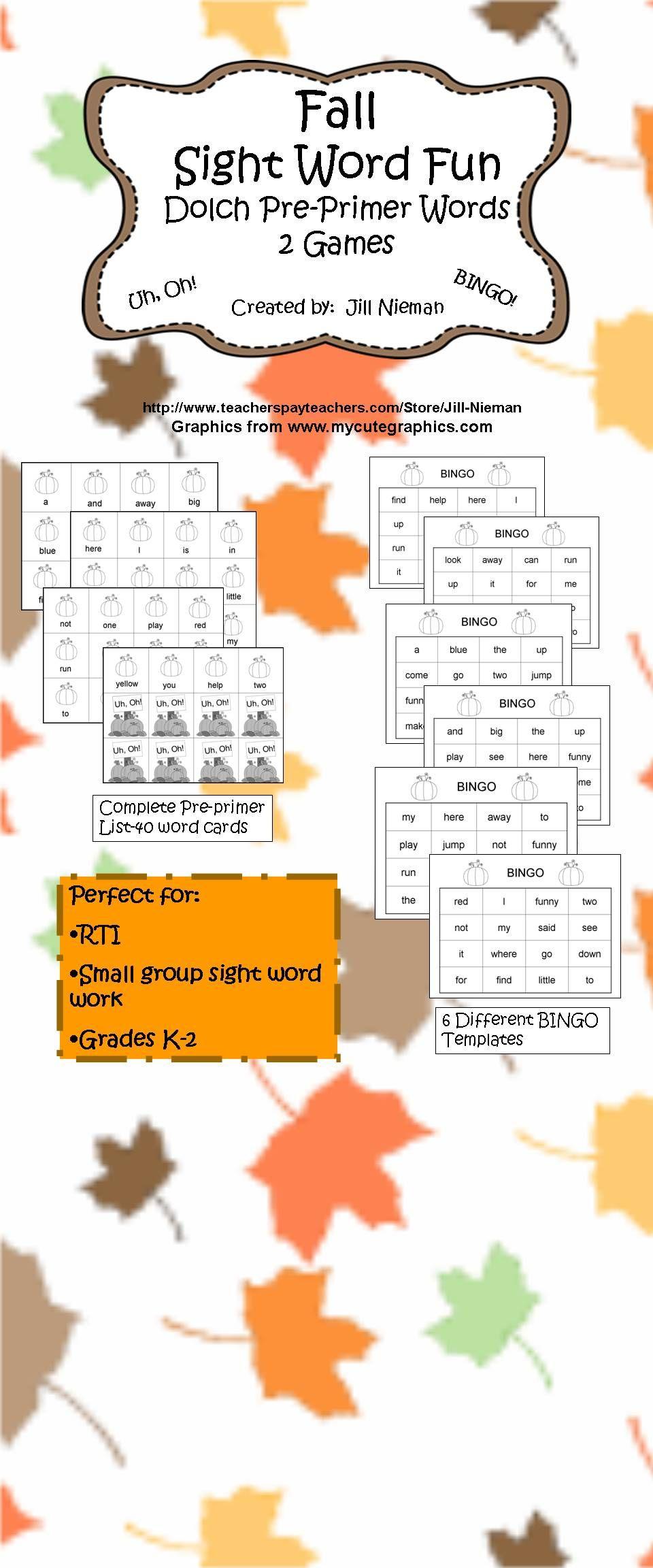 Sight Word Games- Fall, Autumn | Pumpkin Theme | Pinterest | Kind ...
