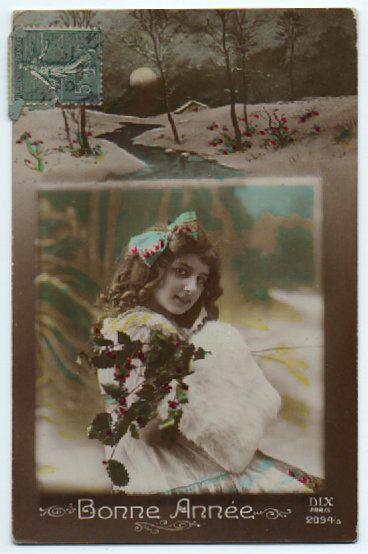 carte postale ancienne jeune fille dans un cadre bonne ann e 1919 vintage ladies. Black Bedroom Furniture Sets. Home Design Ideas