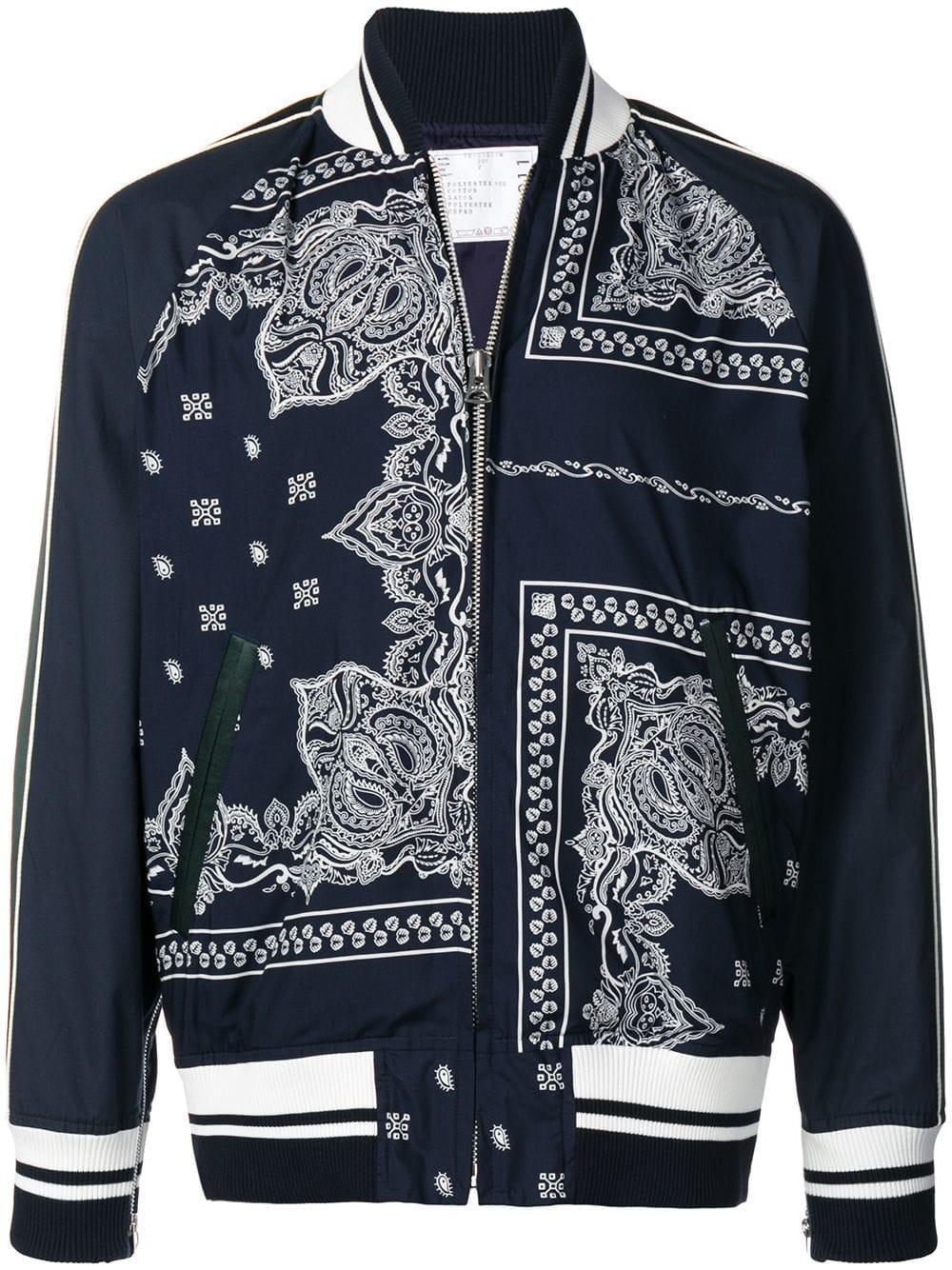 Sacai Sacai Bandana Printed Bomber Jacket Blue Sacai Cloth [ 1334 x 1000 Pixel ]