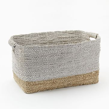 Two-Tone Woven Baskets – Natural/White