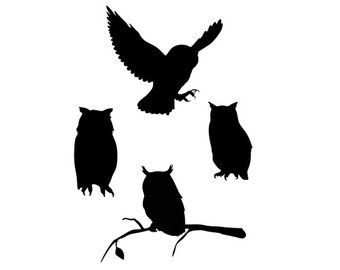 owl silhouette svg dxf file instant download silhouette ...