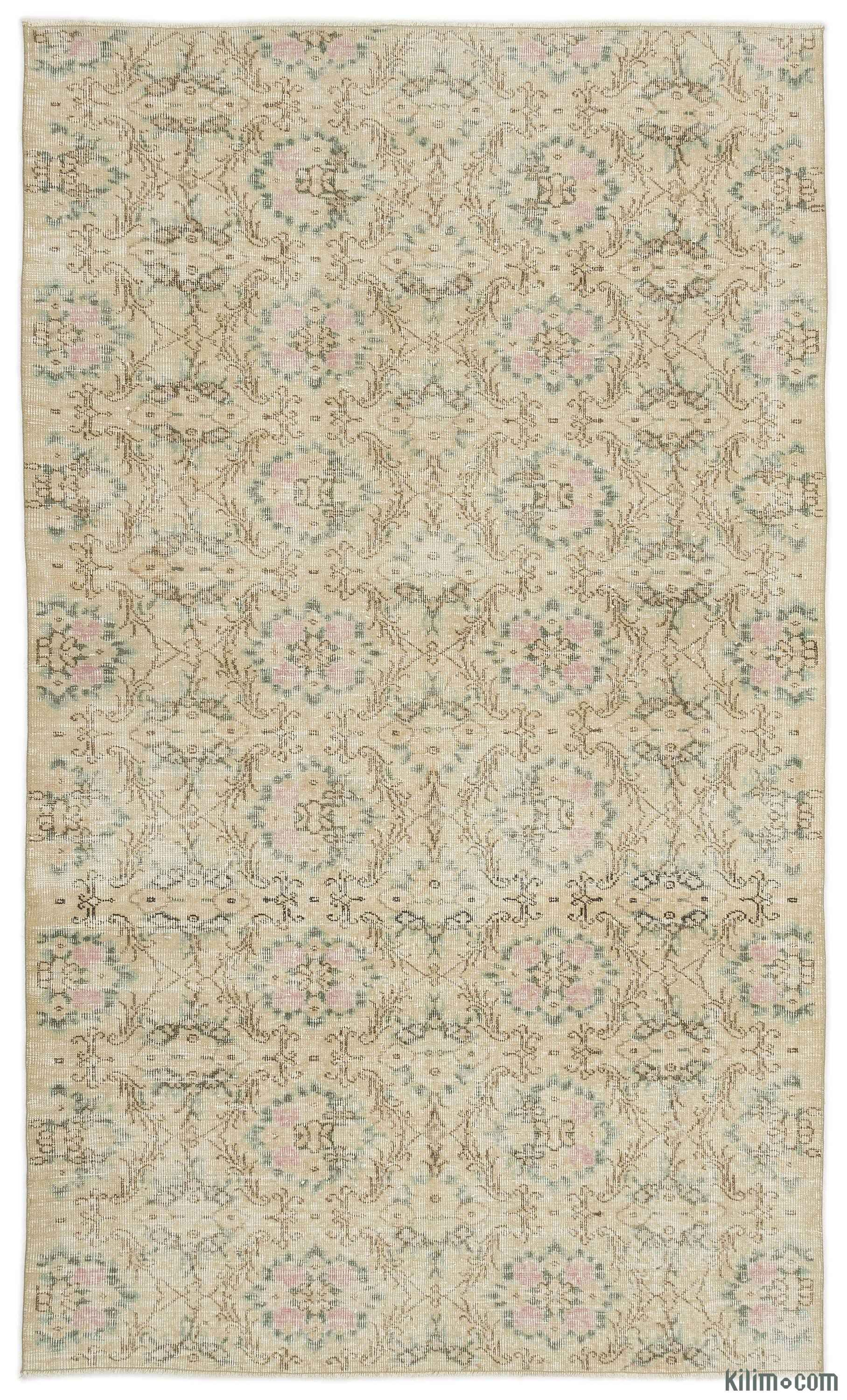 Beige Turkish Vintage Area Rug 5 1 X