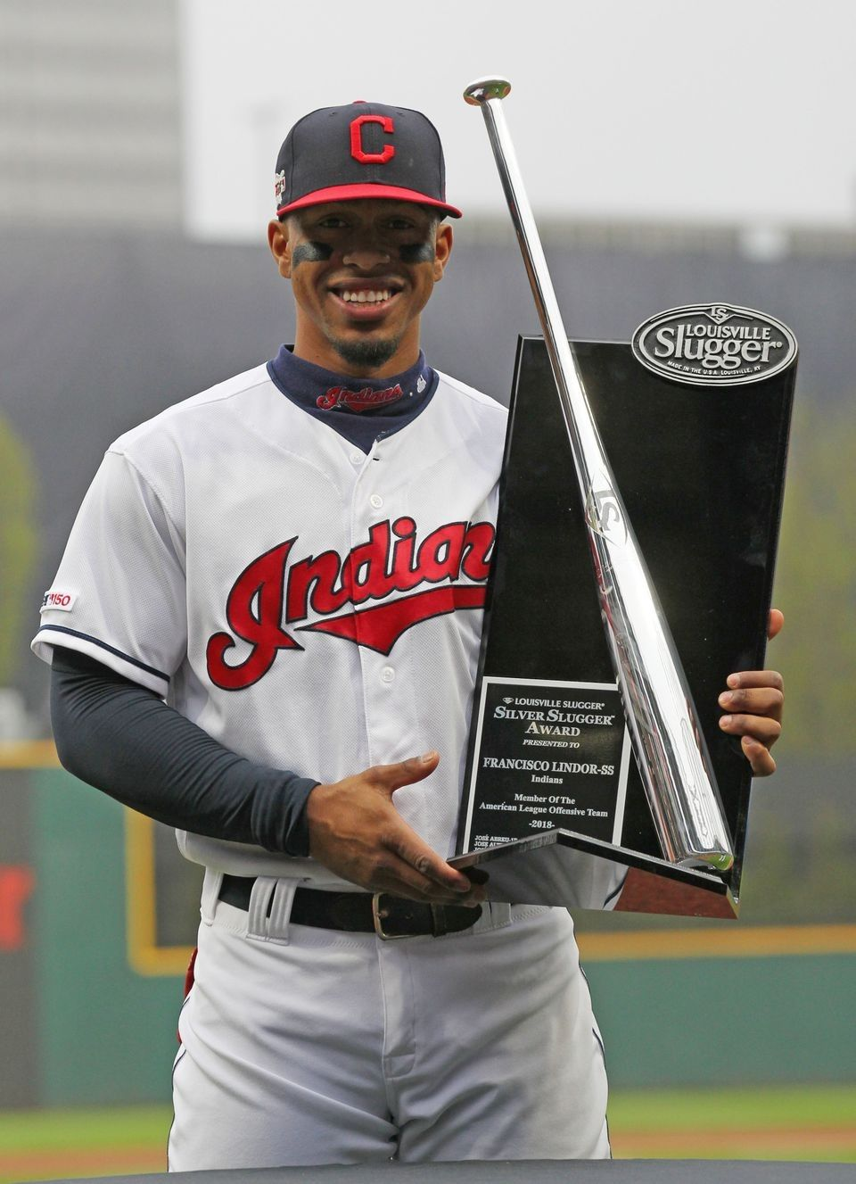 Cleveland Indians Francisco Lindor is presented the 2018