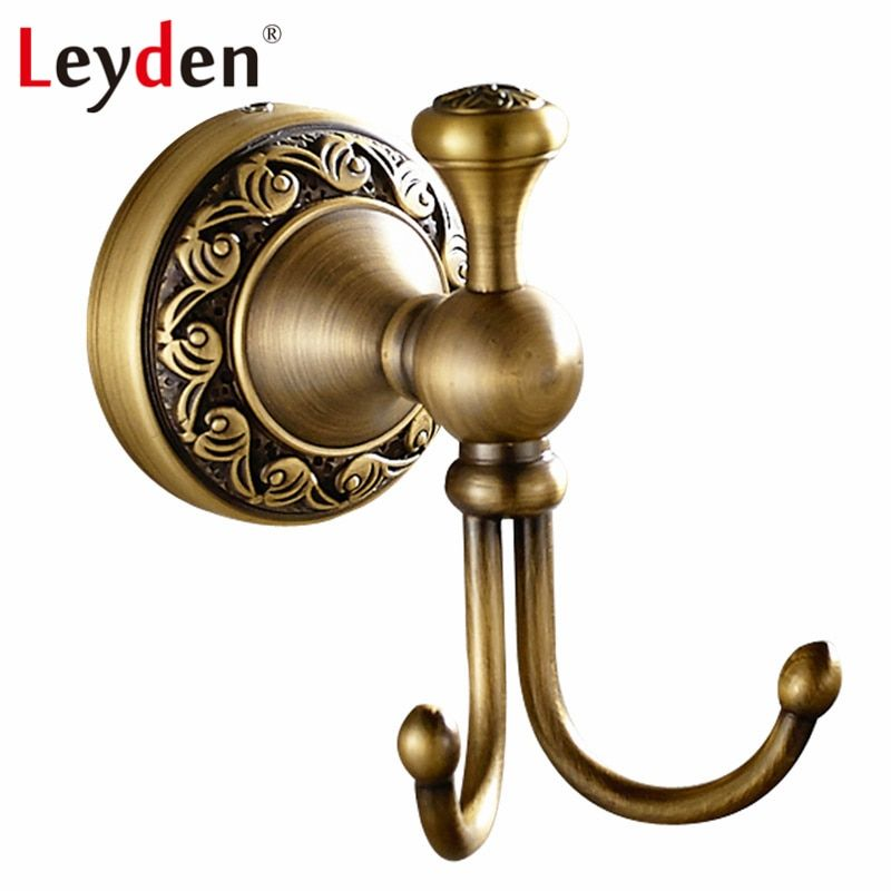 Floral Design Brass Wall Mount Double Hook for Towel or Robe Free Shipping
