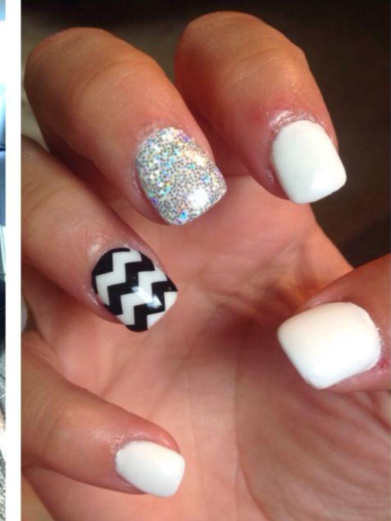 Chevron black  white nails Nails by Missy