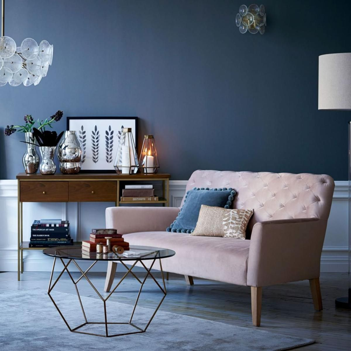Dark Blue Gray Living Room pink sofa and dark blue-grey walls http://www.westelm.co.uk